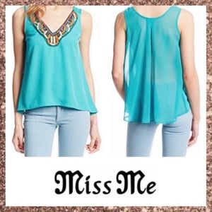 Miss Me Teal Beaded Sleeveless V-Neck Top Large L
